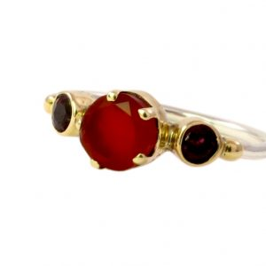 Skinny Ring Carnelian And Garnet – R1655