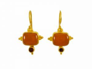 Asian Etruscan Earrings Carnelian And Garnet – E1432