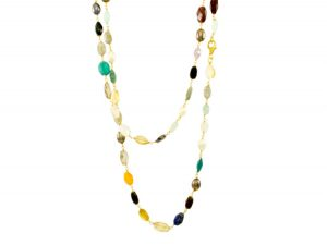 Multi Color Gemstone Chain Necklace – N8330