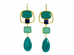 Long Green Onyx And Chalcedony Art Nouveau Earrings – E1216